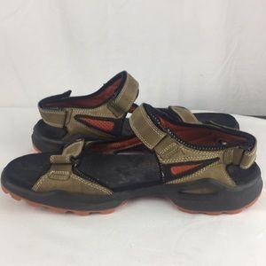 "Ecco Shoes - Ecco ""Yak"" sandals tan/orange accents- 12"
